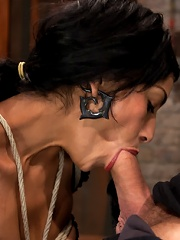 Sexy Cougar is bound, and brutally skull fucked Hair tied on the floor made to cum like a slut!
