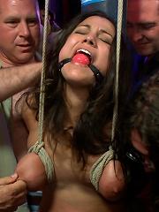 Busty Brunette Disgraced in Bar