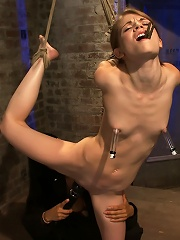 Tiny shaved cutie bound tightly, and made to cum while in tip-toe suspension